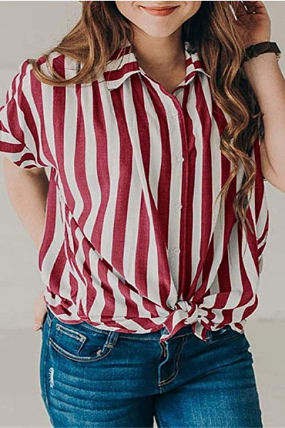 Lapel Short Sleeve Stripes Casual Blouses