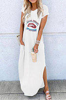 Casual V Neck Side Slit Pure Colour Letters Print Long Dress