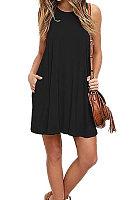 Round Neck  Patch Pocket  Plain Casual Dresses