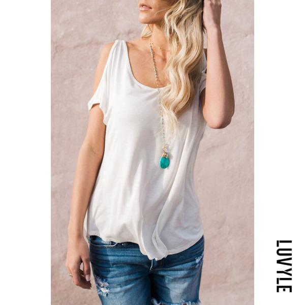 White Round Neck Cutout Plain T-Shirts White Round Neck Cutout Plain T-Shirts