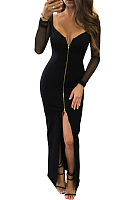 Deep V Neck  High Slit Zipper  Hollow Out Plain Maxi Dresses