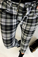 Long  Fitted  Gingham  Pants