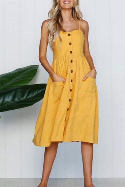 Spaghetti Strap  Patch Pocket Single Breasted  Sleeveless Maxi Dresses