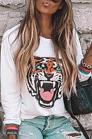Casual Tiger Printed  Loose Long Sleeve  T-Shirts