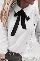 Sweet Bow Fold-Over Collar Long Puff Sleeves Shirt