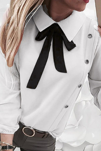 Sweet Bow Fold-Over Collar Long Puff Sleeves Shirt