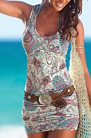 Round Neck  Printed  Sleeveless Bodycon Dresses