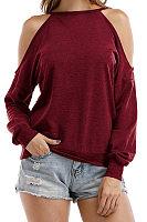 Open Shoulder  Cutout  Plain T-Shirts