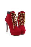 Lace Up Patchwork Alond Toe Ankle Boots