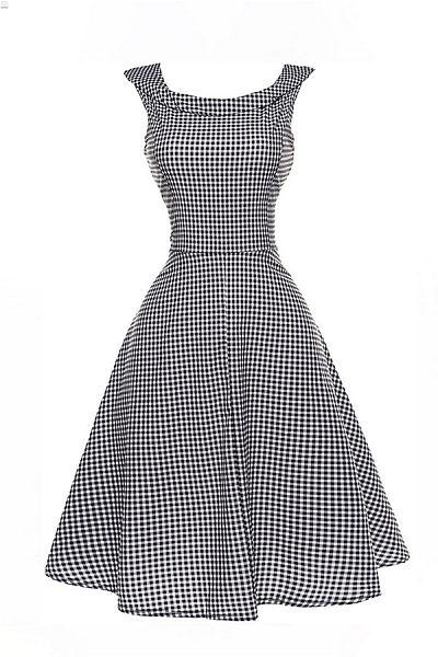 Round Neck  Zipper  Checkered  Sleeveless Skater Dresses