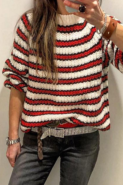 Round Neck Striped Casual Sweater