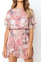 Boat Neck  Bowknot Flounce  Floral  Casual Dresses