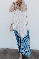 Spaghetti Strap  Tie Dye  Sleeveless Maxi Dresses