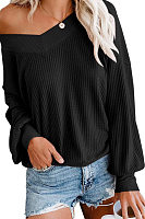 V Neck Loose Fitting Long Sleeve Knit T-Shirts