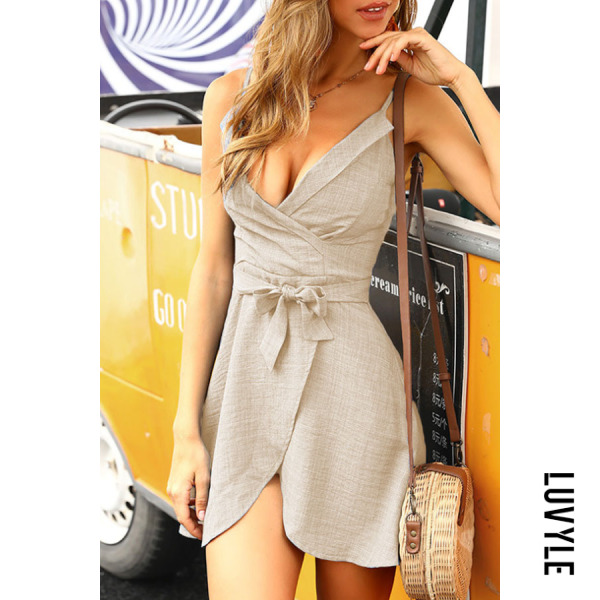 Khaki Spaghetti Strap Belt Plain Sleeveless Casual Dresses Khaki Spaghetti Strap Belt Plain Sleeveless Casual Dresses