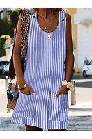 Round Neck  Patch Pocket  Striped Shift Dress