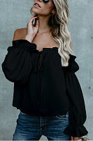 Off Shoulder  Backless  Plain  Lantern Sleeve T-Shirts
