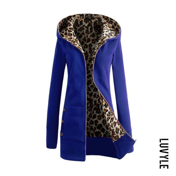 Blue Hooded Zipper Leopard Hoodies Blue Hooded Zipper Leopard Hoodies