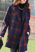Notch Lapel  Plaid Outerwear