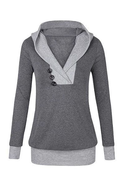 Hooded  Contrast Trim Decorative Buttons Hoodies