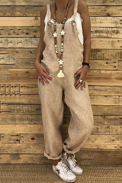 Plain Casual Long Overall