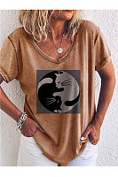 Women's Round Neck Short Sleeve Printed Collage Loose T-Shirts