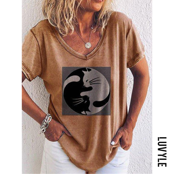 Khaki Women's Round Neck Short Sleeve Printed Collage Loose T-Shirts Khaki Women's Round Neck Short Sleeve Printed Collage Loose T-Shirts