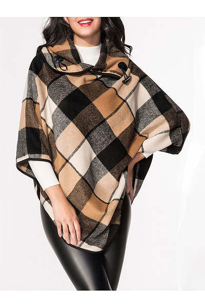 Turtle Neck Plaid Cape