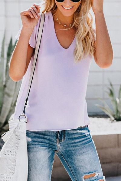 V Neck Ruffle Sleeve Plain T-shirt