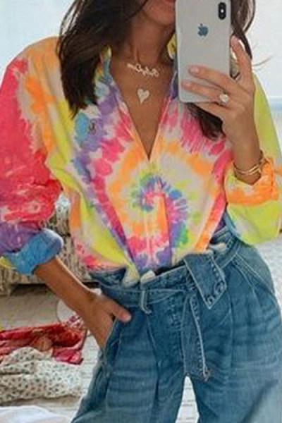 Fashion Tie-dye Loose Long Sleeve Printed Blouse