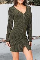 V Neck  Zipper  Plain Bodycon Dresses
