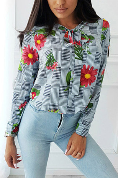 Casual Stand Collar Long Sleeve Printed Colour Blouses