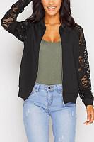 Decorative Lace  Plain Basic  Jackets