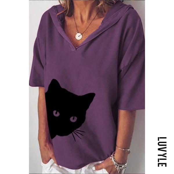 Purple Hoodied Short Sleeve Cat T-shirt Purple Hoodied Short Sleeve Cat T-shirt