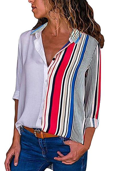 Turn Down Collar  Patchwork Striped  Blouses