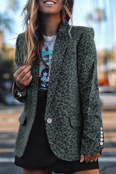 Fold-Over Collar Leopard Casual Blazer