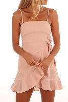 Spaghetti Strap  Asymmetric Hem Backless  Plain  Sleeveless Bodycon Dresses
