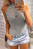 Floral Lace Overlay Hollow Out Halter Neck Sleeveless Bodysuit