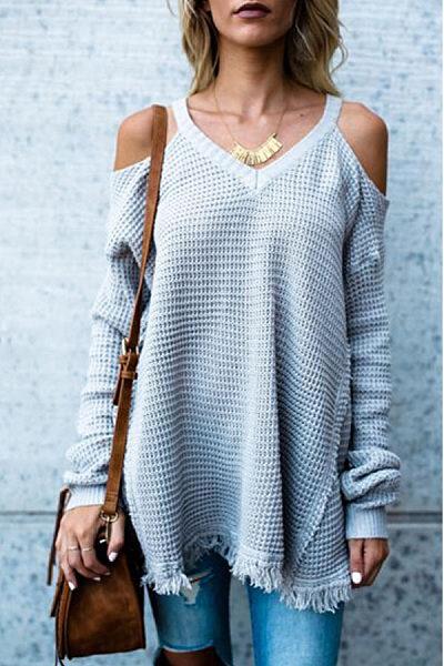 Open Shoulder V Neck  Frayed Trim  Plain Sweaters