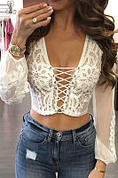 Casual Sexy Deep V   Neck  Hollow Out Lace Splicing Shirt
