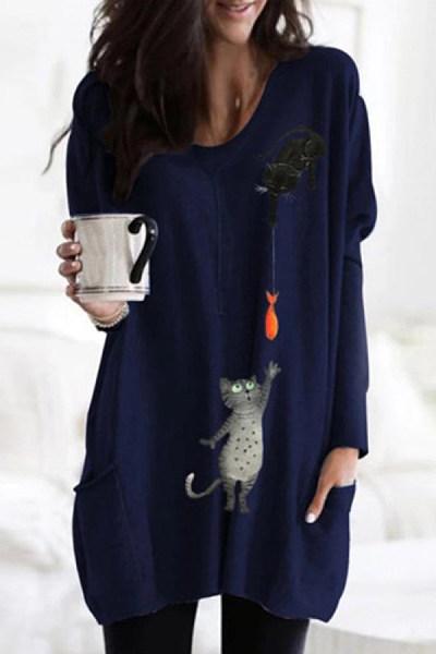 Casual Printed Long Sleeve T-shirt