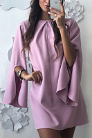 Crew Neck  Plain  Bell Sleeve  Long Sleeve Casual Dresses