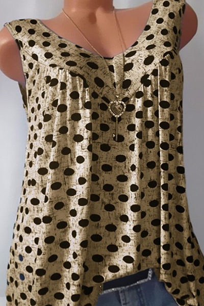 V Neck  Loose Fitting  Dot Sleeveless T-Shirts
