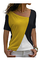 Asymmetric Neck  Patchwork  Color Block Short Sleeve T-Shirts