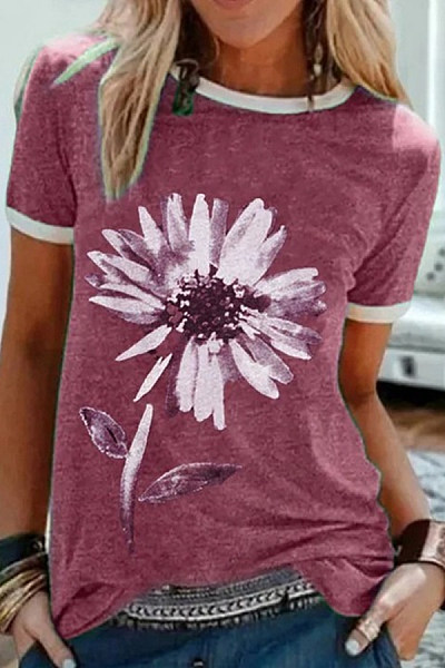 Flower Round Neck Casual T-shirt