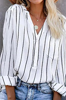 Casual V-neck Long-sleeved Striped Shirt