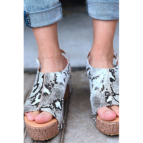 1816a1de5628 Peep Toe PU Blocking Hook-Loop Wedge Sandals Shoes - Luvyle.com
