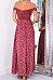 Off Shoulder Slit Printed Maxi Dresses
