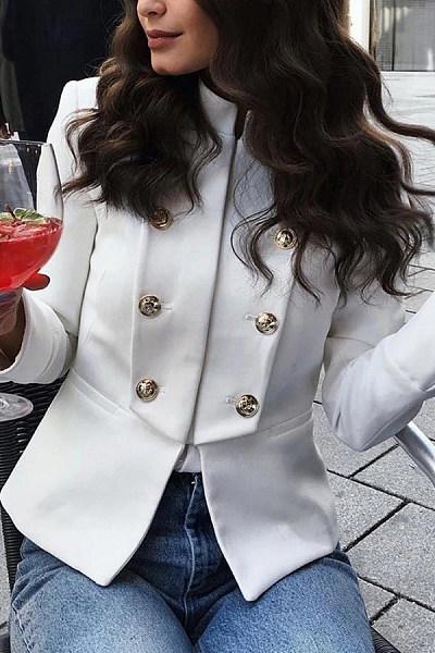 Fold-Over Collar Decorative Buttons Plain Jacket