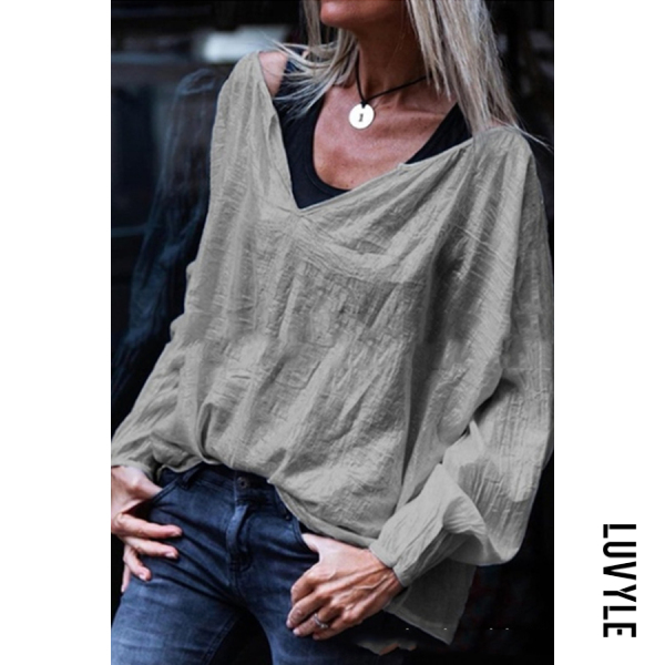 Silver Casual Loose V-Neck Solid Color Long-Sleeved T-Shirt Silver Casual Loose V-Neck Solid Color Long-Sleeved T-Shirt